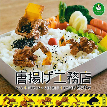 Takara Tomy Panda's Ana Gashapon Samefurai Tempura Fried Builders 5+1 Secret 6 Mini Figure Set