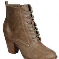 Beige Lace Up Vintage Style Retro Steampunk Mori Girl Kawaii Granny Ankle Booties