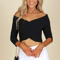 Off The Shoulder Ribbed Cross Top Black
