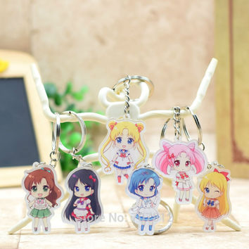 MSN004 Soldier Sailor acrylic Keychain Pendant Car Key Chain Key Accessories Cute Japanese Cartoon Collection LTX1