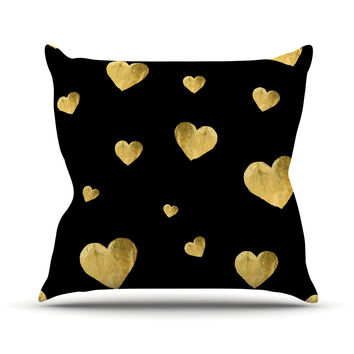 "Robin Dickinson ""Floating Hearts"" Gold Black Outdoor Throw Pillow"