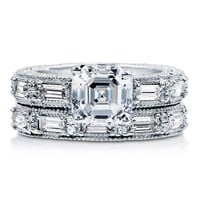 Asscher CZ 925 Sterling Silver 2Pc Vintage Style Wedding Ring Set 3 Ct #r796