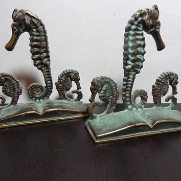 Vintage Virginia Metalcrafters Brass Seahorse Bookends with Patina - Beach or Nautical Bookends/Desk Accessory
