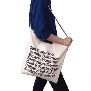 City Name Letters Print Fashion Casual Large Capacity Canvas Shoulder Bag Crossbody Tote Big Shopping Travel Beach Sling Bag