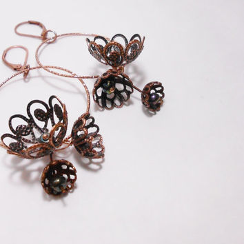 Copper Filigree Flowers - Dangle copper flowers earrings - Antique Copper Flower Earrings