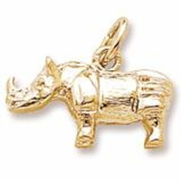 Rhino Charm in Yellow Gold Plated