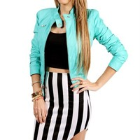 Seafoam Faux Leather Jacket