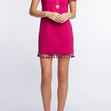 Magenta Short Sleeve Textured Dress w/ Cotton Fringe Detail