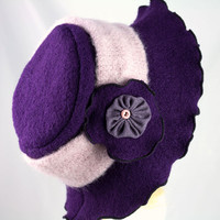 Scalloped Brimmed Floppy Hat | Deepest Royal Purple Boiled Wool | Detachable Light Pink Band