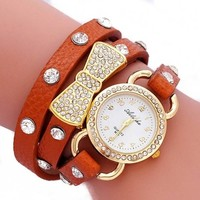 Sun*Glory Women Retro Crystal wrap Around leather strap quartz bracelet Chain wrist watch (brown)