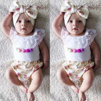 2016 T-shirt + Floral Bottoms 3pcs Infant Newborn Baby Girl Clothes Lace White PP Flower Bottoms Pants Outfits Headwear Clothes