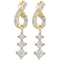 Round Diamond Ladies Cluster Fashion Earrings in 14k Gold 0.15 ctw