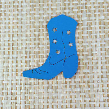 12 Die Cut Blue Cowboy, Cowgirl Boots, Scrapbooking, Card Making, Gift Tags
