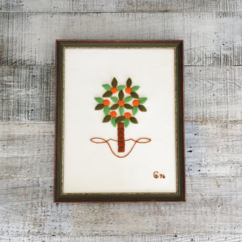 Embroidery Wall Art Vintage Crewel Orange Tree Wall Art Framed Embroidery Wall Hanging Framed Crewel Picture Needlepoint Wall Hanging