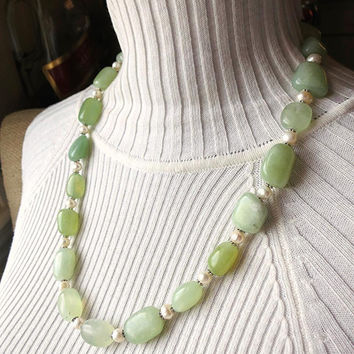 Sea jade serpentine & freshwater pearls necklace. Handmade sea glass/mint green, luminous stones. Long, boho statement jewelry.