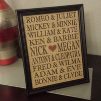 Framed Burlap Print - Famous Couples - Custom - Personalized - Valentines Day - Wedding - Anniversary - 8x10