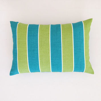 Outdoor cushion - teal turquoise & lime striped designer lumbar cushion cover - FREE SHIPPING Australia wide