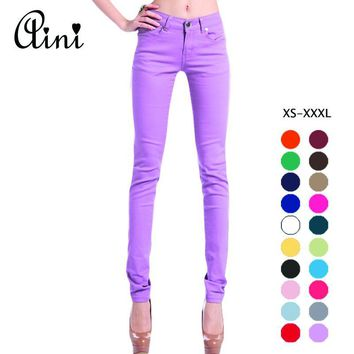 Women's Candy Pants Pencil Trousers 2017 Spring Fall Khaki Stretch Pants For Women Slim Ladies Jean Trousers Female Capris