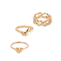 FOREVER 21 Heart Midi Ring Set Gold One