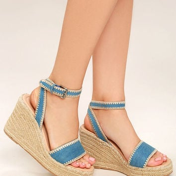 Coconuts Frenchie Light Denim Espadrille Wedges