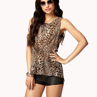 High-Low Leopard Top