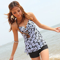 Black&ampWhite Bikini One Piece Swimsuit Tankini with attached bottom Swimwear = 1956921924