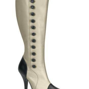 Pleaser Female Victorian, Detective, Classic Boot With Side Buttons, Knee High ARENA20