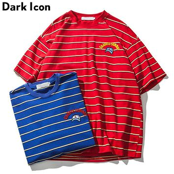 Embroidery Striped Over sized Tee Shirts Men Summer Street wear Loose Style Hip Hop T-shirt Cotton T shirts Men Red Blue