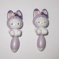 2pc Hello Kitty Charms Lot Raccoon Purple Costume Kawaii Wholesale Jewelry Making Supplies Sanrio 19mm