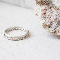 Sterling silver stacking rings, set of two, thin minimalist bands, dainty artisan jewelry, skinny stackable, beaded pattern, customizable
