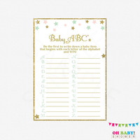 Baby ABC Game, ABC Baby Shower Game, Pink Mint Gold, Twinkle Twinkle Little Star Baby Shower, Printable, pink mint girl download abc's STPMG