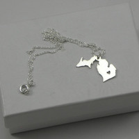 Sterling Silver State Love Heart Necklace - Michigan