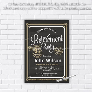 Retirement Invitations,  Retirement party Invitation,  Retirement Celebration retro vintage Invite, chalkboard blackboard design- card 633