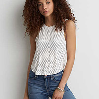 AEO Boxy Crop Tank , Cream
