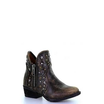 Circle G by Corral Boots LD Black Zipper & Studs Bootie w/Round Toe~ Style Q5097