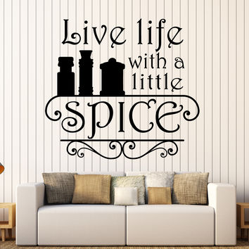 Vinyl Wall Decal Kitchen Quote Spice Chef Restaurant Cook Stickers (ig4534)