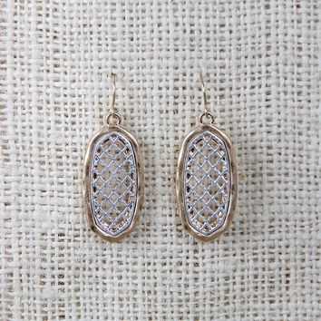 Clover Lattice Filigree Oval Drop Earrings