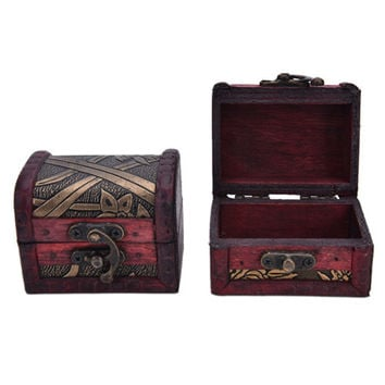 Stylish Vintage Flower storage jewelry box Metal Lock Jewelry Treasure Manual Wood storage box R om send SM6