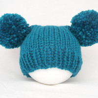 Knitted newborn baby hat unisex - teal petrol pom pom hat Biscay bay - hand knitted photo prop - baby shower - wool mix - autumn fall winter