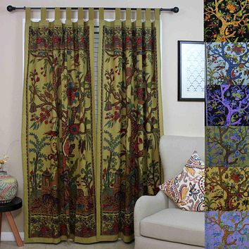 Cotton Tree of Life Tab Top Curtain Drape Door Panel 44x88 Gold Blue Purple Green Tan