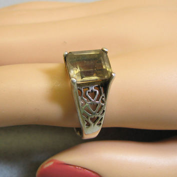 Lovely Vintage Huge Emerald Cut Real Ametrine Ring Size 9.5