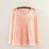 Women Cardigan Hollow Bandage Knit Loose Solid Outerwear Jacket _ 4833
