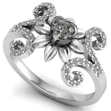 Silver Love Ring Flower Ring Promise Ring Unique Engagement Ring with Side  Diamonds Floral ring Birthday f138dacc8