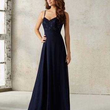 Joky Quaon New Arrive Spaghetti Straps Backless Floor Length Dark Blue Beading Lace Chiffon Elegant Bridesmaid Dresses Long 2017