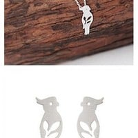 MagicPieces Silver Hollow Out Bird Shape Short Necklace and Stud Earrings Set ADP 0618