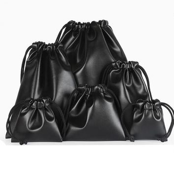 20pcs/lot 7x8, 9x9, 12x11cm Drawstring Black PU Leather Bags For Jewelry Jewellery Pouches Wedding Gift Packing Bags