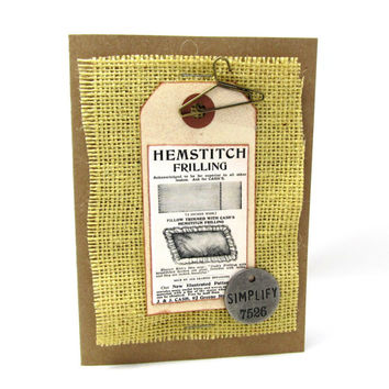 Vintage Advertising Blank Card - Burlap - Kraft Card - Rustic Tag - Metallic Embellishments - Any Occasion Card - Lots of Detail and Texture