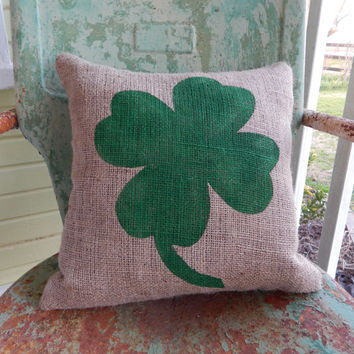 St Patricks Day Four Leaf Clover Shamrock Green Burlap Decorative Pillow Painted Throw Accent Pillow Custom Colors Home Decor