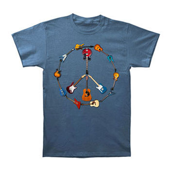 Novelty Men's  Guitar Peace Sign T-shirt Blue
