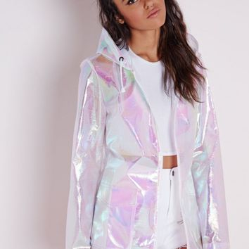 Missguided - Holographic Rain Mac Pearlescent Pink